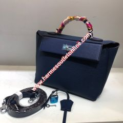 Hermes Taurillon Maurice Bag Calfskin Palladium Hardware In Navy Blue
