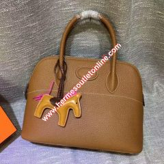 Hermes Bolide Bag Togo Leather Palladium Hardware In Brown