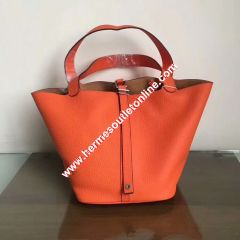 Hermes Picotin Lock Bag Clemence Leather Palladium Hardware In Orange