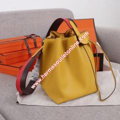 Hermes Licol Bag Evercolor Calfskin Palladium Hardware In Yellow