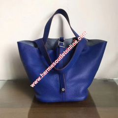 Hermes Picotin Lock Bag Clemence Leather Palladium Hardware In Blue