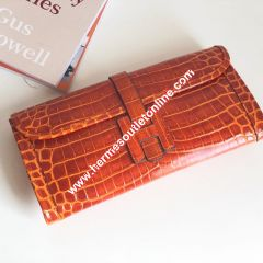 Hermes Jige Elan Clutch Alligator Leather In Orange