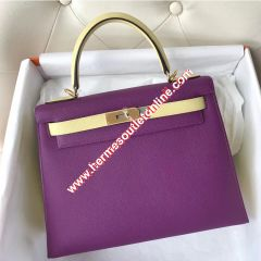 Hermes Kelly Bag Color Blocking Clemence Leather Gold Hardware In Purple