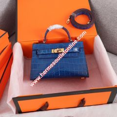 Hermes Kelly II Mini Bag Alligator Leather Gold Hardware In Blue
