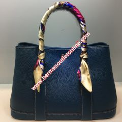 Hermes Garden Party Bag Togo Leather In Navy Blue