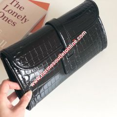 Hermes Jige Elan Clutch Alligator Leather In Black