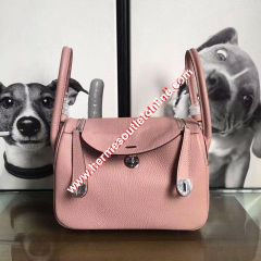 Hermes Lindy Bag Clemence Leather Palladium Hardware In Cherry