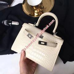Hermes Kelly II Mini Bag Alligator Leather Palladium Hardware In Beige