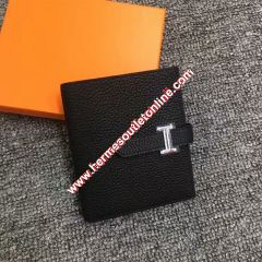 Hermes Bearn Compact Wallet Togo Leather Palladium Hardware In Black