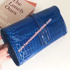 Hermes Jige Elan Clutch Alligator Leather In Blue