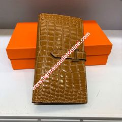 Hermes Bearn Wallet Alligator Leather Gold Hardware In Brown