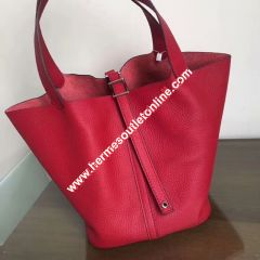 Hermes Picotin Lock Bag Clemence Leather Palladium Hardware In Red