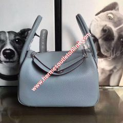 Hermes Lindy Bag Clemence Leather Palladium Hardware In Sky Blue