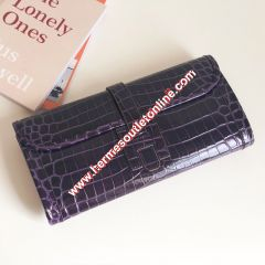 Hermes Jige Elan Clutch Alligator Leather In Purple