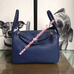 Hermes Lindy Bag Clemence Leather Palladium Hardware In Navy Blue