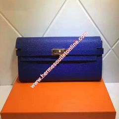 Hermes Kelly Wallet Epsom Leather Gold Hardware In Blue