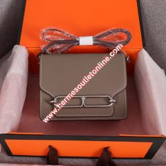Hermes Roulis Bag Epsom Leather Palladium Hardware In Grey