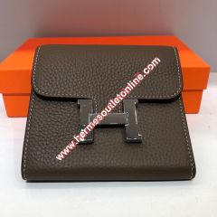 Hermes Constance Compact Wallet Togo Leather Palladium Hardware In Tapue