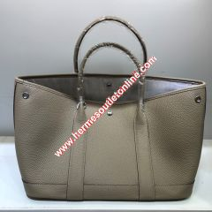 Hermes Garden Party Bag Togo Leather In Khaki