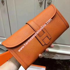 Hermes Jige Elan Clutch Epsom Leather In Orange