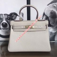 Hermes Kelly Bag Togo Leather Gold Hardware In White