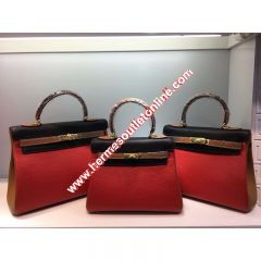 Hermes Kelly Bag Color Blocking Clemence Leather Gold Hardware In Red