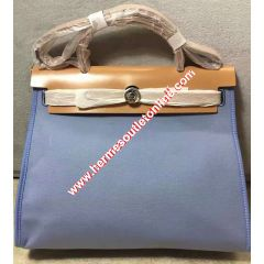 Hermes Herbag Bag Canvas Palladium Hardware In Sky Blue
