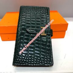 Hermes Bearn Wallet Alligator Leather Gold Hardware In Green