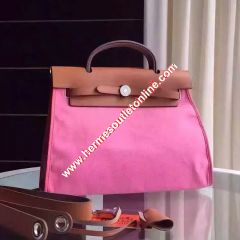 Hermes Herbag Bag Canvas Palladium Hardware In Pink