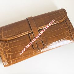 Hermes Jige Elan Clutch Alligator Leather In Brown