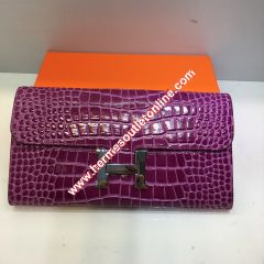 Hermes Constance Wallet Alligator Leather Palladium Hardware In Purple